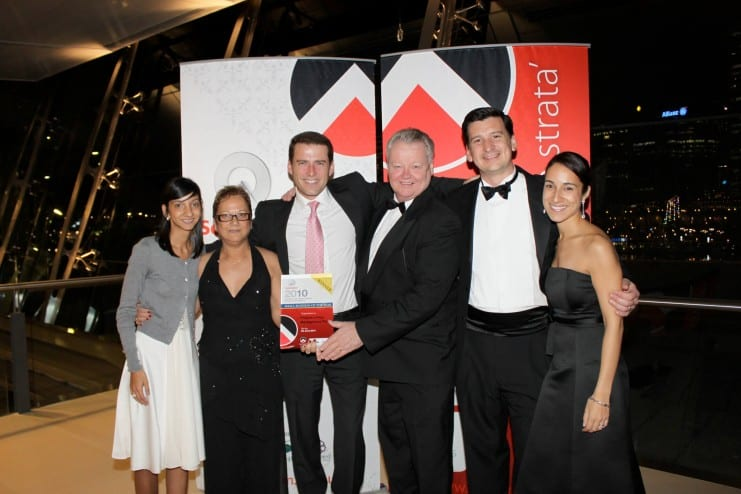 Pristine Living Management are award winners, including the Schindler Strata Industry Awards for Excellence in 2010. They are pictured here with Today show host Karl Stefanovic.
