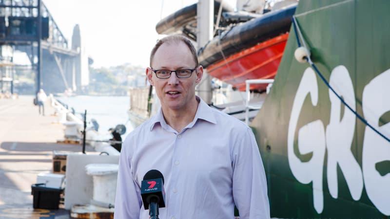 Rainbow Warrior III Open Boat in Sydney Greenpeace Australia Pacific CEO David Ritter in The Australian Business Executive